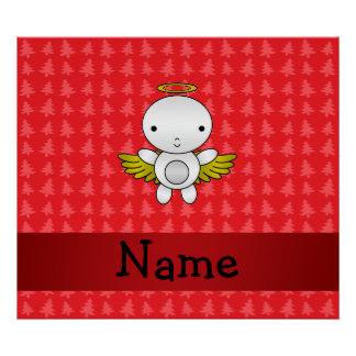 Personalized name angel red christmas trees poster