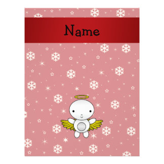 Personalized name angel red snowflakes custom flyer