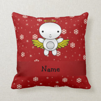 Personalized name angel red snowflakes throw cushions