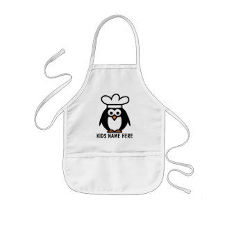 Personalized name apron for kids | Penguin chef