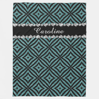Personalized name Aqua Glitter Black Pattern Fleece Blanket
