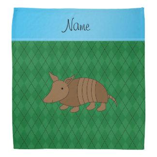 Personalized name armadillo green argyle bandana