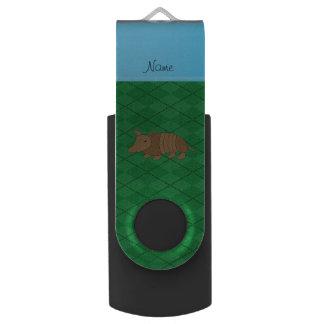 Personalized name armadillo green argyle swivel USB 2.0 flash drive