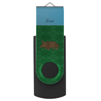 Personalized name armadillo green argyle USB flash drive