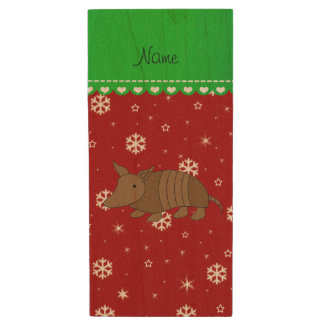 Personalized name armadillo red snwoflakes wood USB 2.0 flash drive