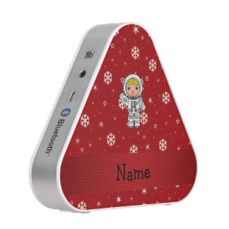 Personalized name astronaut red snowflakes bluetooth speaker