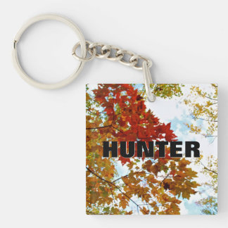 Personalized Name Autumn Tree Leaves Sky Photo Double-Sided Square Acrylic Keychain