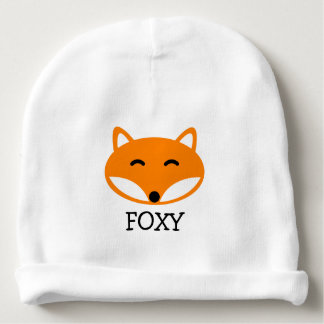 Personalized name baby beanie hats with cute fox