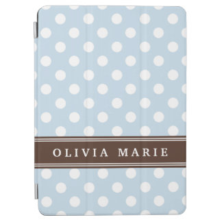 Personalized Name Baby Blue Polka Dots Pattern iPad Air Cover