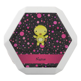 Personalized name baby chick black pink polka dots white boombot rex bluetooth speaker