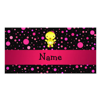 Personalized name baby chick black pink polka dots customized photo card