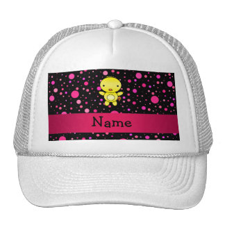 Personalized name baby chick black pink polka dots trucker hats