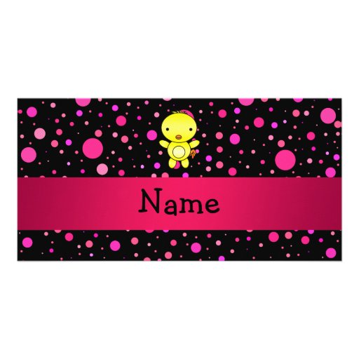 Personalized name baby chick black pink polka dots photo greeting card