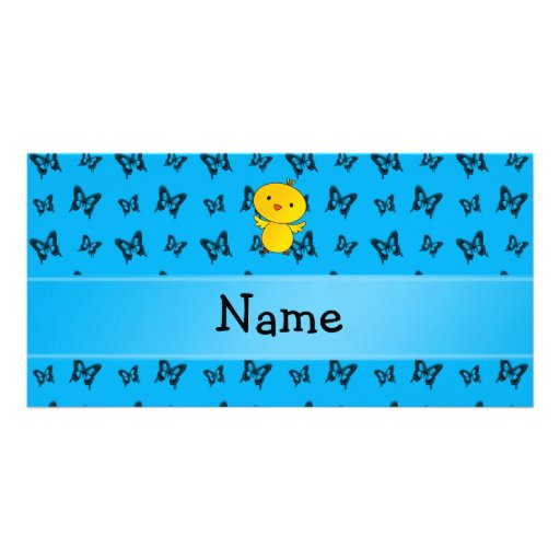 Personalized name baby chick blue butterflies photo cards