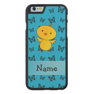 Personalized name baby chick blue butterflies carved® maple iPhone 6 case