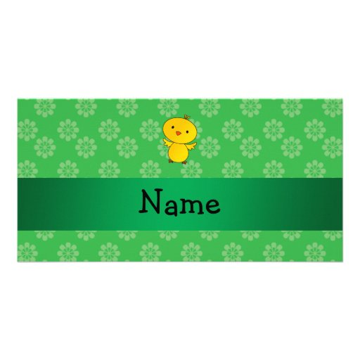 Personalized name baby chick green flowers photo greeting card