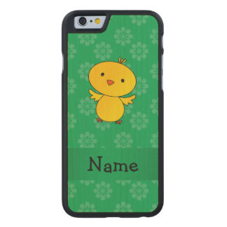 Personalized name baby chick green flowers carved® maple iPhone 6 slim case