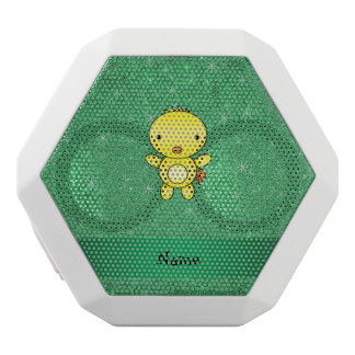 Personalized name baby chick green glitter white boombot rex bluetooth speaker