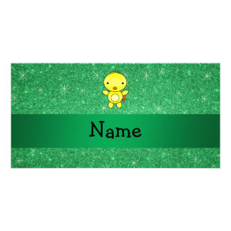 Personalized name baby chick green glitter personalised photo card