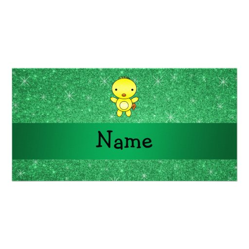 Personalized name baby chick green glitter photo card