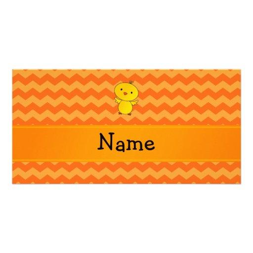 Personalized name baby chick orange chevrons custom photo card