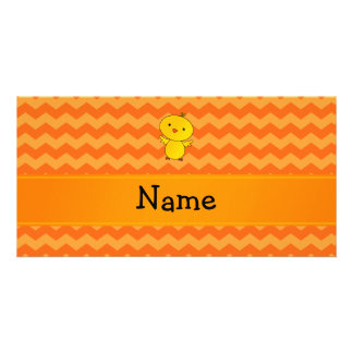 Personalized name baby chick orange chevrons photo cards