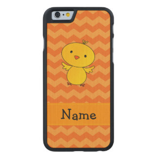Personalized name baby chick orange chevrons carved® maple iPhone 6 slim case
