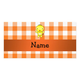 Personalized name baby chick orange gingham personalised photo card