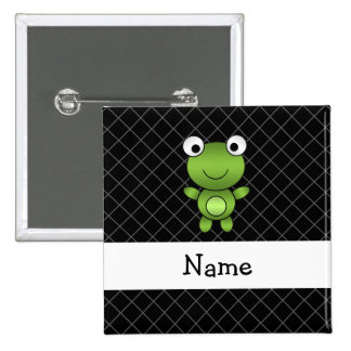 Personalized name baby frog black criss cross 15 cm square badge