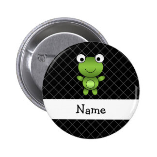 Personalized name baby frog black criss cross 6 cm round badge