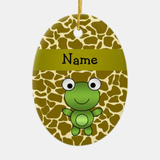 Personalized name baby frog giraffe pattern christmas ornament