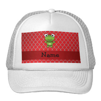 Personalized name baby frog red dragon scales mesh hat