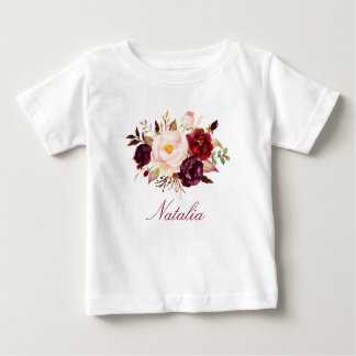 Personalized Name Baby Girl Watercolor Floral-10 Baby T-Shirt