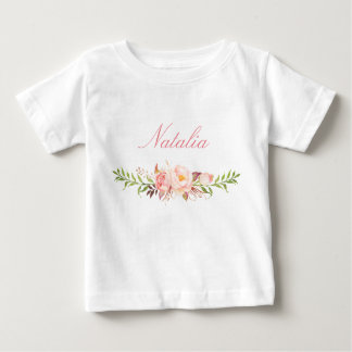 Personalized Name Baby Girl Watercolor Floral-12 Baby T-Shirt
