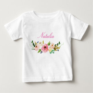 Personalized Name Baby Girl Watercolor Floral-7 Baby T-Shirt