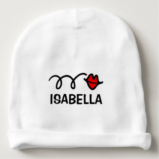 Personalized name baby hats with red kiss lips baby beanie