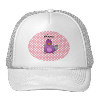 Personalized name baby platypus pink polka dots hat