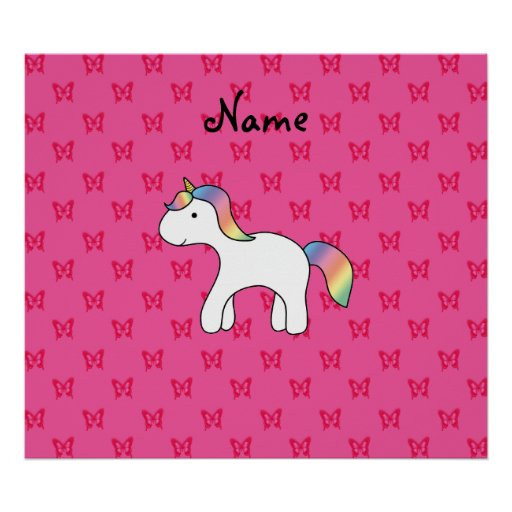Personalized name baby unicorn pink butterflies posters