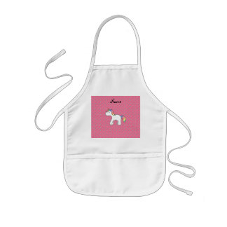 Personalized name baby unicorn pink diamonds kids apron