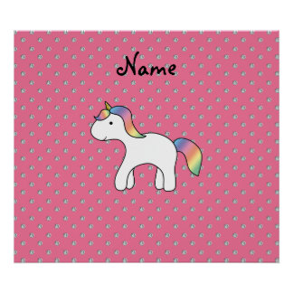 Personalized name baby unicorn pink diamonds poster