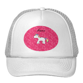Personalized name baby unicorn pink flowers cap