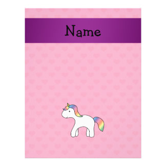 Personalized name baby unicorn pink hearts flyer design