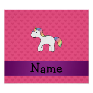 Personalized name baby unicorn pink hearts poster