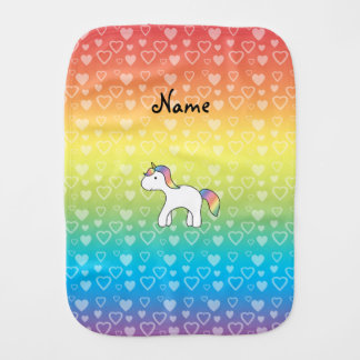 Personalized name baby unicorn rainbow hearts burp cloth