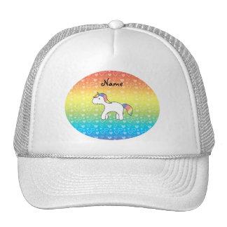 Personalized name baby unicorn rainbow hearts trucker hat