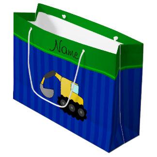 Personalized name backhoe blue stripes large gift bag