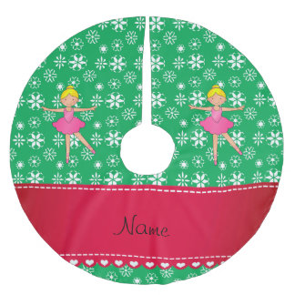 Personalized name ballerina green snowflakes brushed polyester tree skirt
