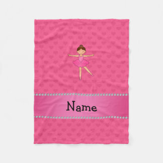 Personalized name ballerina pink hearts fleece blanket