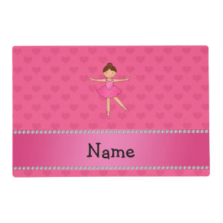 Personalized name ballerina pink hearts laminated place mat