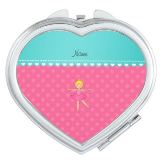 Personalized name ballerina pink polka dots makeup mirror